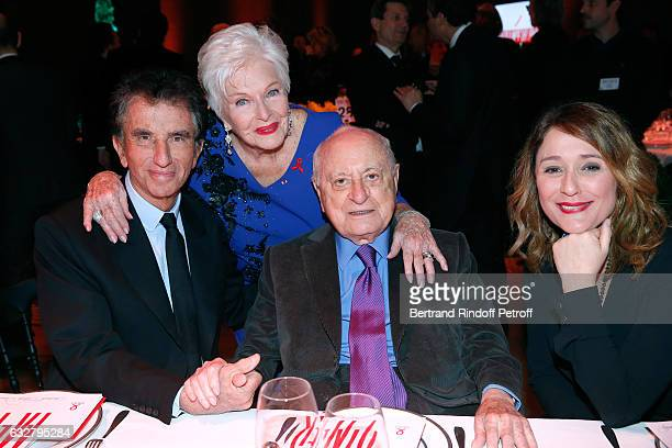 Jack Lang Line Renaud Pierre Berge and Daniela Lumbroso attend the Sidaction Gala Dinner 2017 Haute Couture Spring Summer 2017 show as part of Paris...