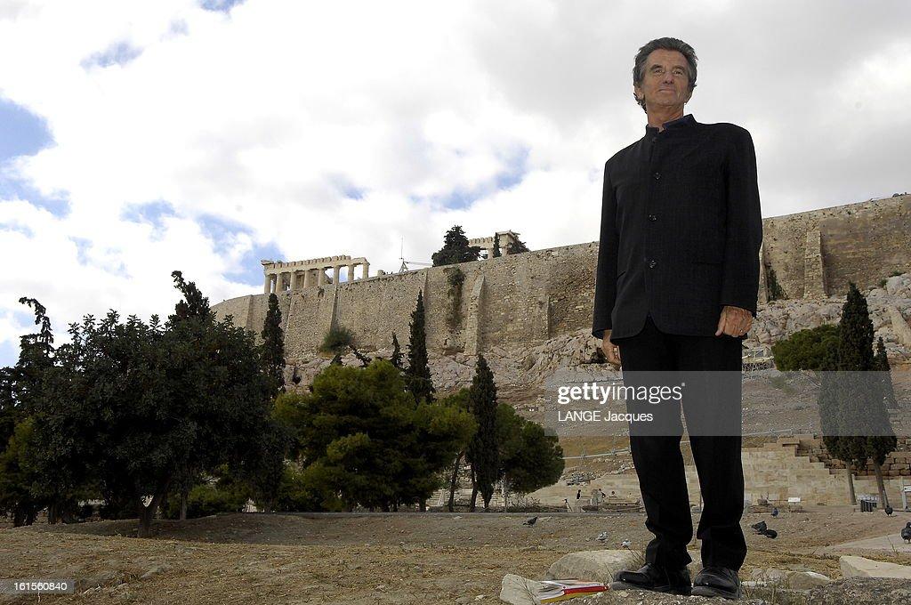 <a gi-track='captionPersonalityLinkClicked' href=/galleries/search?phrase=Jack+Lang&family=editorial&specificpeople=220296 ng-click='$event.stopPropagation()'>Jack Lang</a> Travel In Greece. Jack LANG tourne en Grèce un documentaire pour Arte où il présente le dramaturge grec Sophocle : Jack LANG tout de noir vêtu, posant devant l'Acropole qui fait actuellement l'objet d'un chantier de restauration très ambitieux.