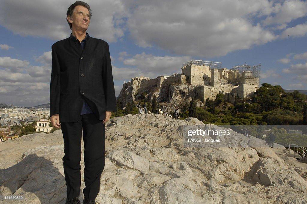 <a gi-track='captionPersonalityLinkClicked' href=/galleries/search?phrase=Jack+Lang&family=editorial&specificpeople=220296 ng-click='$event.stopPropagation()'>Jack Lang</a> Travel In Greece. Jack LANG tourne en Grèce un documentaire pour Arte où il présente le dramaturge grec Sophocle : attitude souriante de Jack LANG tout de noir vêtu, posant sur la Pnyx, haut lieu de naissance de la démocratie, en face de l'Acropole qui fait actuellement l'objet d'un chantier de restauration très ambitieux.