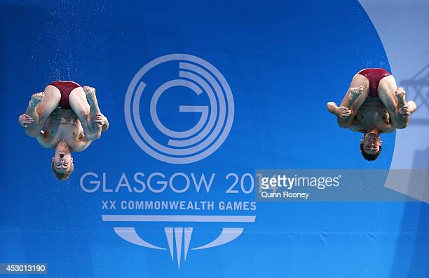 Jack Laugher and Chris Mears of England compete in the Men's Synchronised 3m Springboard Final at Royal Commonwealth Pool during day nine of the...
