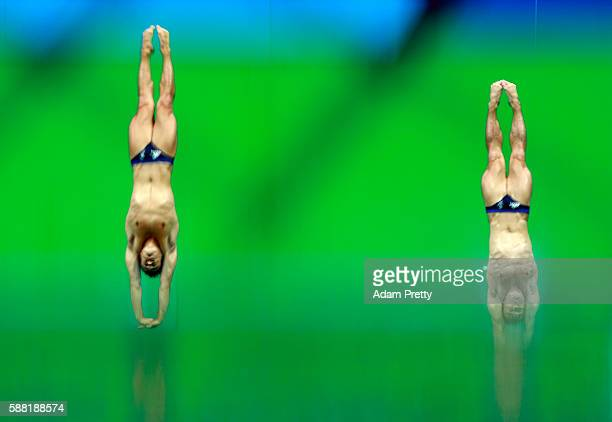 Jack Laugher and Chris Mears of Great Britain warm up ahead of the Men's Synchronised 3m Springboard Final on Day 5 of the Rio 2016 Olympic Games at...