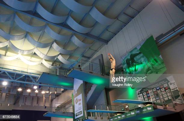 Jack Laugher of Great Britain competes in the Men's 3m Final during the 2017 FINA Diving World Series at the Windsor International Aquatic and...