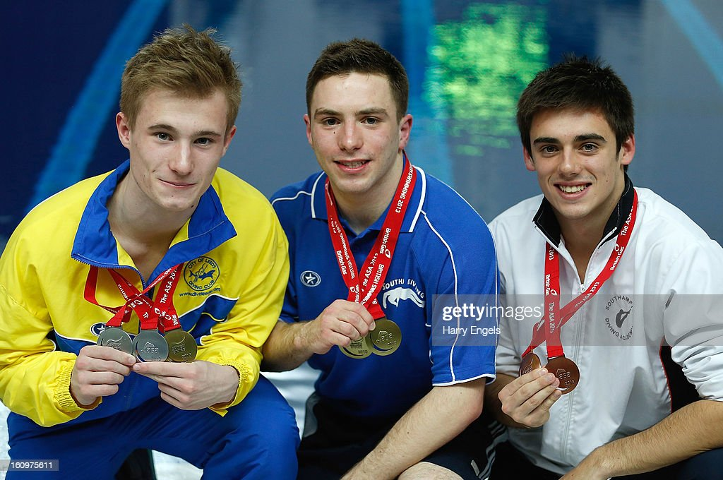 Jack Laugher, Oliver Dingley and Chris Mears pose with their medals following the Men's 1m Final on day 1 of the British Gas Diving Championships on February 8, 2013 in Plymouth, England.