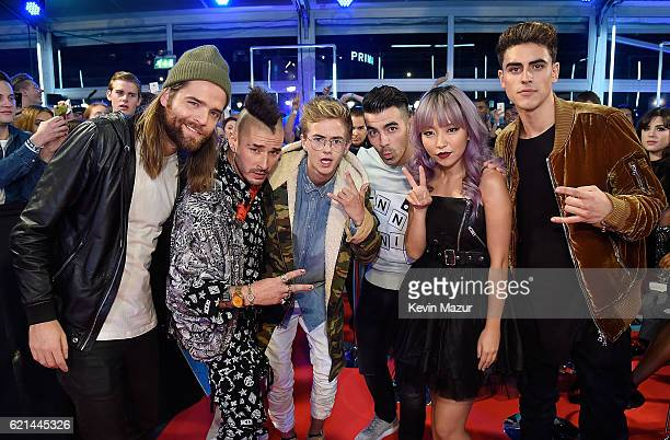 Jack Lawless Cole Whittle Jack Johnson Joe Jonas JinJoo Lee and Jack Gilinsky attend the MTV Europe Music Awards 2016 on November 6 2016 in Rotterdam...