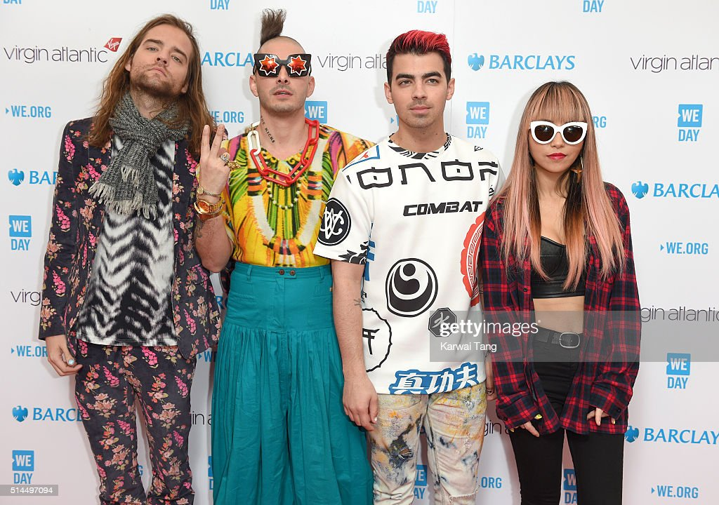Jack Lawless, Cole Whittle, Joe Jonas and JinJoo Lee of DNCE arrive for WE day at SSE Arena on March 9, 2016 in London, England. WE Day is a celebration of youth making a difference in their local and global communities.