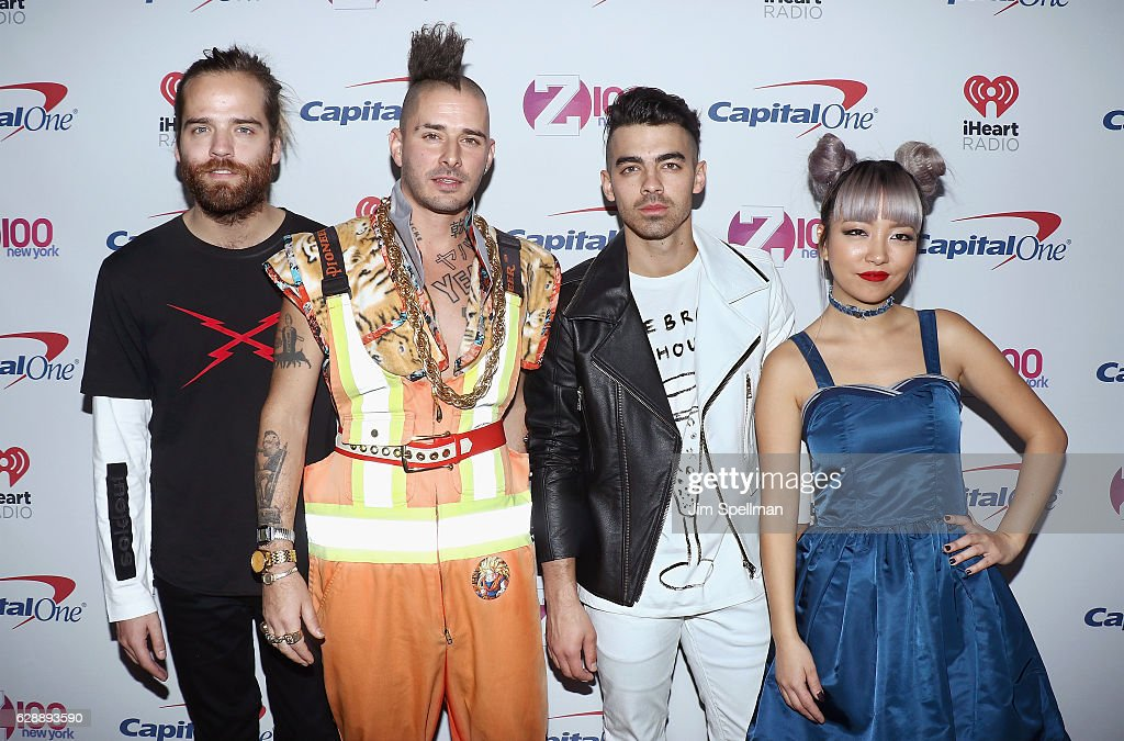 Jack Lawless, Cole Whittle, Joe Jonas, and JinJoo Lee of DNCE attend Z100's Jingle Ball 2016 at Madison Square Garden on December 9, 2016 in New York City.