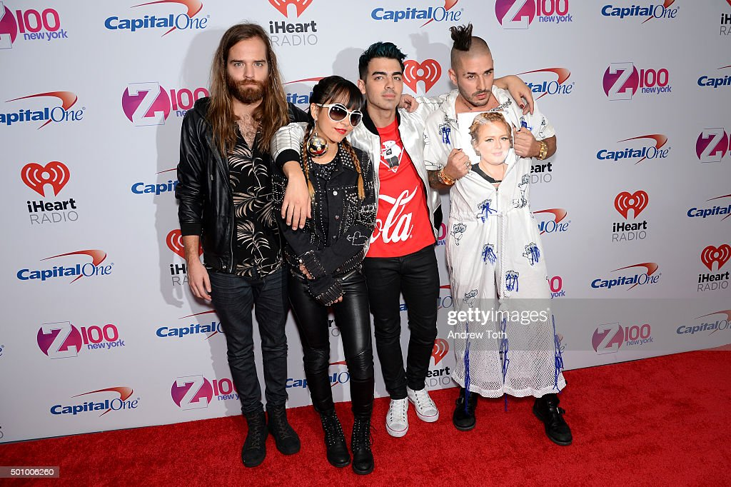 Jack Lawless, JinJoo, Joe Jonas and Cole Whittle of DNCE attend Z100's iHeartRadio Jingle Ball 2015 arrivals at Madison Square Garden on December 11, 2015 in New York City.