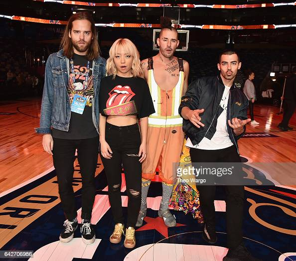Jack Lawless JinJoo Lee Cole Whittle and Joe Jonas of DNCE attend the NBA AllStar Saturday Night at Smoothie King Center on February 18 2017 in New...