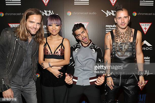 Jack Lawless JinJoo Lee Joe Jonas and Cole Whittle of DNCE attend a celebration with Republic Records and Guess after the 2016 MTV Video Music Awards...