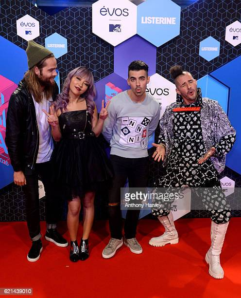 Jack Lawless JinJoo Lee Joe Jonas and Cole Whittle of DNCE attend the MTV Europe Music Awards 2016 on November 6 2016 in Rotterdam Netherlands