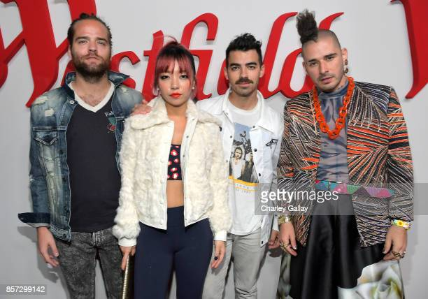 Jack Lawless JinJoo Lee Joe Jonas and Cole Whittle of music group DNCE attend the Westfield Century City Reopening Celebration on October 3 2017 in...