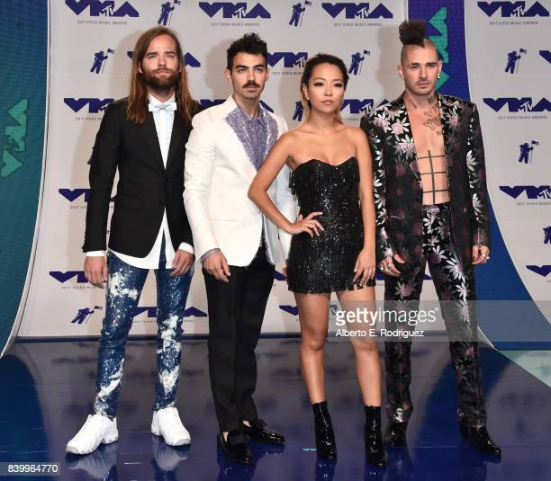 Jack Lawless Joe Jonas JinJoo Lee and Cole Whittle of musical group DNCE attends the 2017 MTV Video Music Awards at The Forum on August 27 2017 in...
