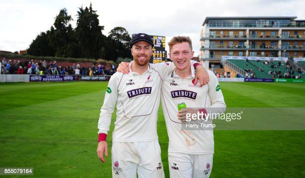 Jack Leach and Dom Bess of Somerset celebrate during Day Four of the Specsavers County Championship Division One match between Somerset and Middlesex...