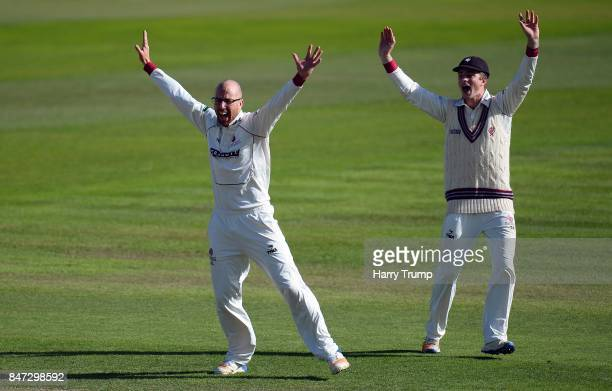 Jack Leach and Tom Abell of Somerset appeals during Day Four of the Specsavers County Championship Division One match between Somerset and Lancashire...