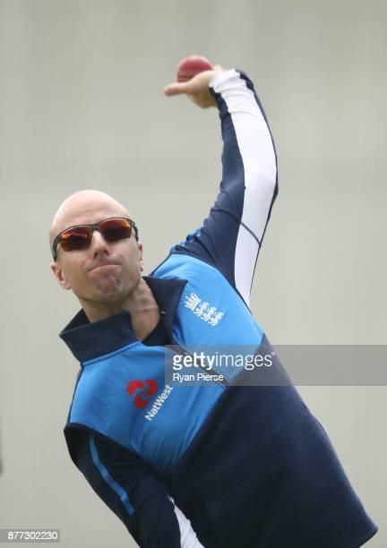 Jack Leach of England bowls during an England nets session at The Gabba on November 21 2017 in Brisbane Australia