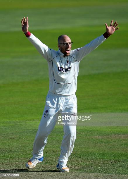 Jack Leach of Somerset appeals during Day Four of the Specsavers County Championship Division One match between Somerset and Lancashire at The Cooper...