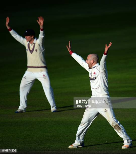 Jack Leach of Somerset appeals during Day Three of the Specsavers County Championship Division One match between Somerset and Lancashire at The...
