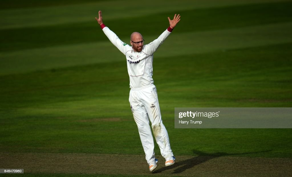 Jack Leach of Somerset appeals during Day Two of the Specsavers County Championship Division One match between Somerset and Lancashire at The Cooper Associates County Ground on September 13, 2017 in Taunton, England.