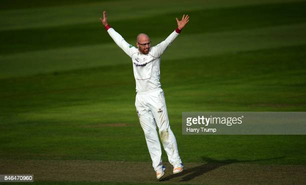 Jack Leach of Somerset appeals during Day Two of the Specsavers County Championship Division One match between Somerset and Lancashire at The Cooper...