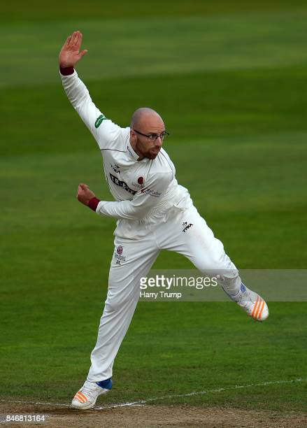 Jack Leach of Somerset bowls during Day Three of the Specsavers County Championship Division One match between Somerset and Lancashire at The Cooper...