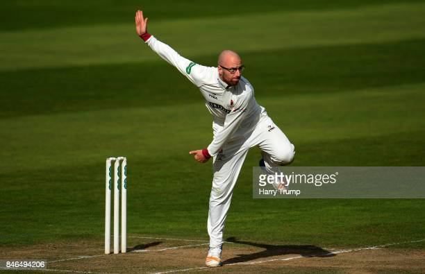 Jack Leach of Somerset bowls during Day Two of the Specsavers County Championship Division One match between Somerset and Lancashire at The Cooper...