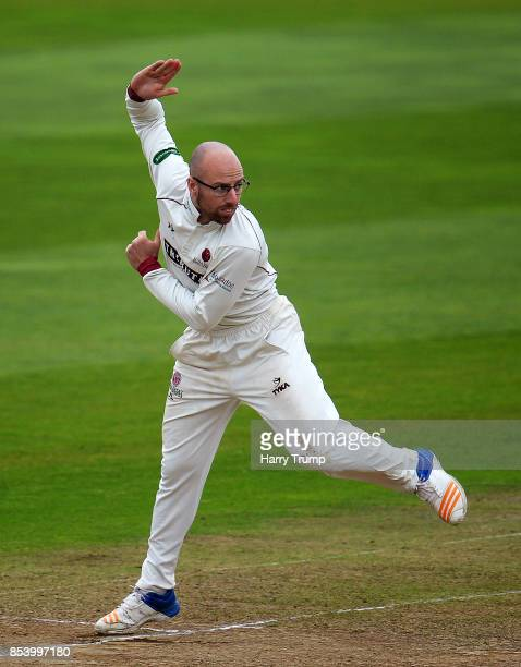 Jack Leach of Somerset bowls during Day Two of the Specsavers County Championship Division One match between Somerset and Middlesex at The Cooper...