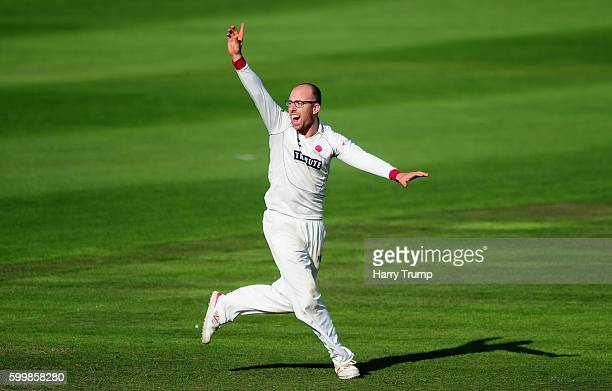 Jack Leach of Somerset celebrates after dismissing Alex Mellor of Warwickshire during Day Two of the Specsavers County Championship Division One...
