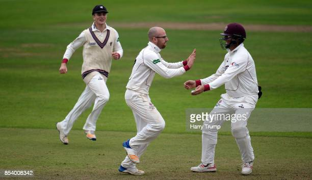 Jack Leach of Somerset celebrates after dismissing Dawid Malan of Middlesex during Day Two of the Specsavers County Championship Division One match...