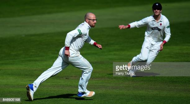 Jack Leach of Somerset celebrates after dismissing Hasseb Hameed of Lancashire during Day Three of the Specsavers County Championship Division One...
