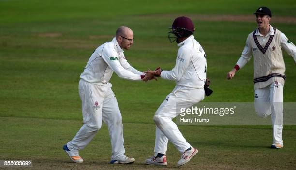 Jack Leach of Somerset celebrates after dismissing John Simpson of Middlesex during Day Four of the Specsavers County Championship Division One match...