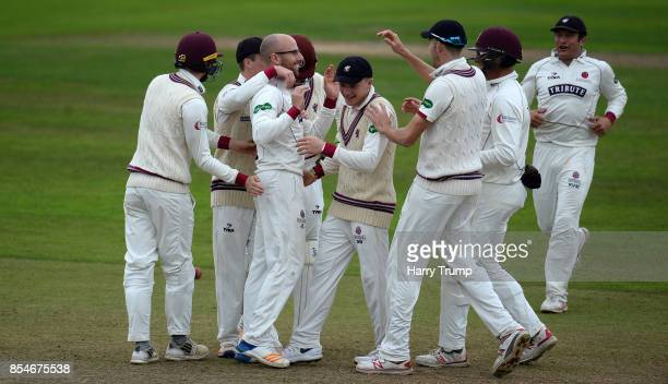 Jack Leach of Somerset celebrates after dismissing Nick Compton of Middlesex during Day Three of the Specsavers County Championship Division One...