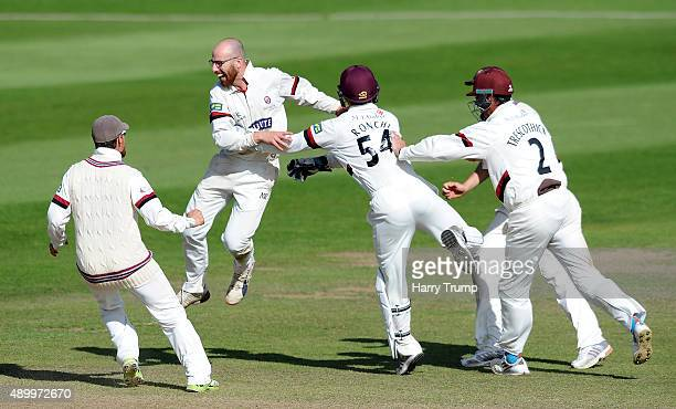 Jack Leach of Somerset celebrates after dismissing Oliver HannonDalby of Warwickshire to win the match by 17 runs during the LV County Championship...
