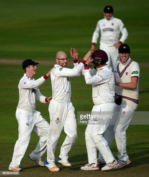 Jack Leach of Somerset celebrates after dismissing Sam Robson of Middlesex during Day One of the Specsavers County Championship Division One match...