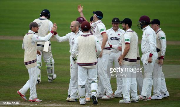 Jack Leach of Somerset celebrates after dismissing Sam Robson of Middlesex during Day Three of the Specsavers County Championship Division One match...