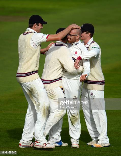 Jack Leach of Somerset celebrates after dismissing Shiv Chanderpaul of Lancashire during Day Two of the Specsavers County Championship Division One...