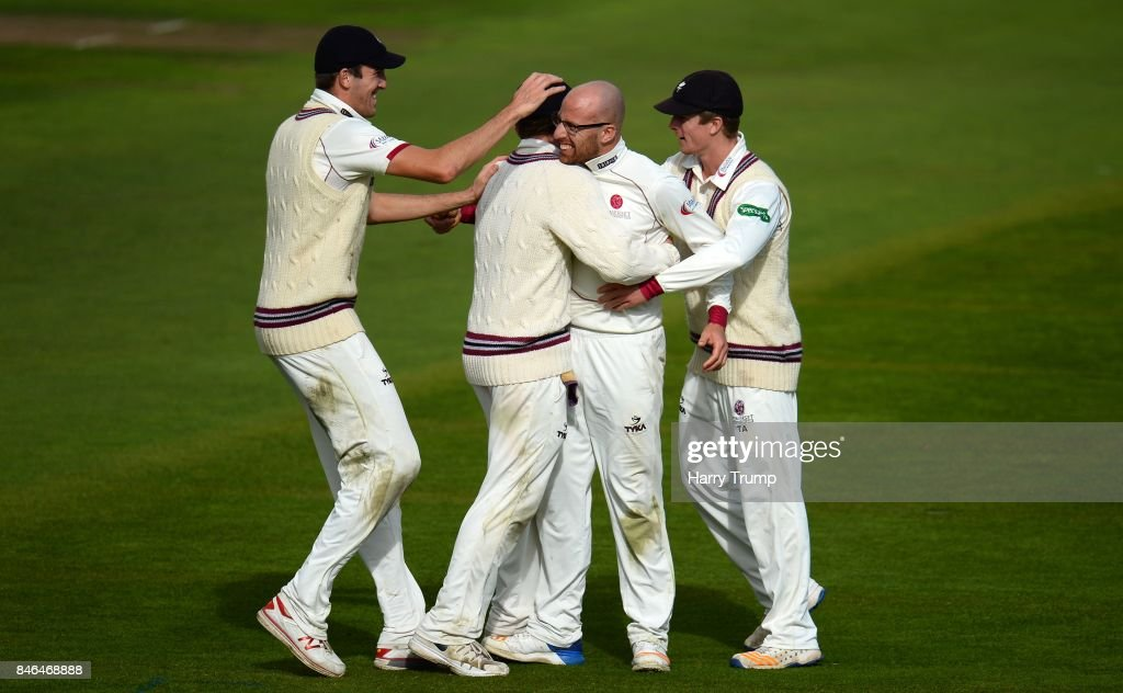 Jack Leach of Somerset(2R) celebrates after dismissing Shiv Chanderpaul of Lancashire during Day Two of the Specsavers County Championship Division One match between Somerset and Lancashire at The Cooper Associates County Ground on September 13, 2017 in Taunton, England.