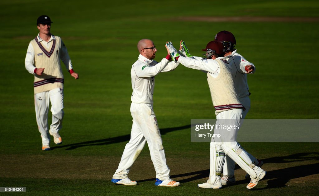 Jack Leach of Somerset(C) celebrates the wicket of Ryan McLaren of Lancashire during Day Two of the Specsavers County Championship Division One match between Somerset and Lancashire at The Cooper Associates County Ground on September 13, 2017 in Taunton, England.