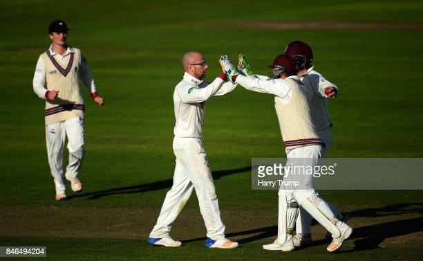 Jack Leach of Somerset celebrates the wicket of Ryan McLaren of Lancashire during Day Two of the Specsavers County Championship Division One match...