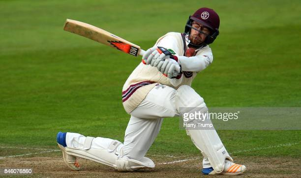 Jack Leach of Somerset is hit by the ball during Day One of the Specsavers County Championship Division One match between Somerset and Lancashire at...