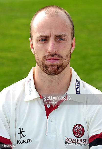 Jack Leach of Somerset poses during the Somerset CCC Photocall at The County Ground on March 17 2015 in Taunton England