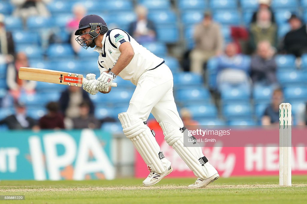 Jack Leaning of Yorkshire bats during day two of the Specsavers County Championship: Division One match between Yorkshire and Lancashire at Headingley on May 30, 2016 in Leeds, England.