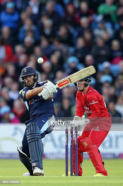 Jack Leaning of Yorkshire Vikings bats during the NatWest T20 Blast match between Yorkshire Vikings and Lancashire Lightning at Headingley on July 1...