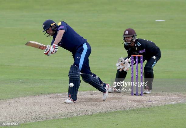 Jack Leaning of Yorkshire Vikings hits out during the Royal London OneDay Cup Play Off between Yorkshire Vikings and Surrey at Headingley on June 13...
