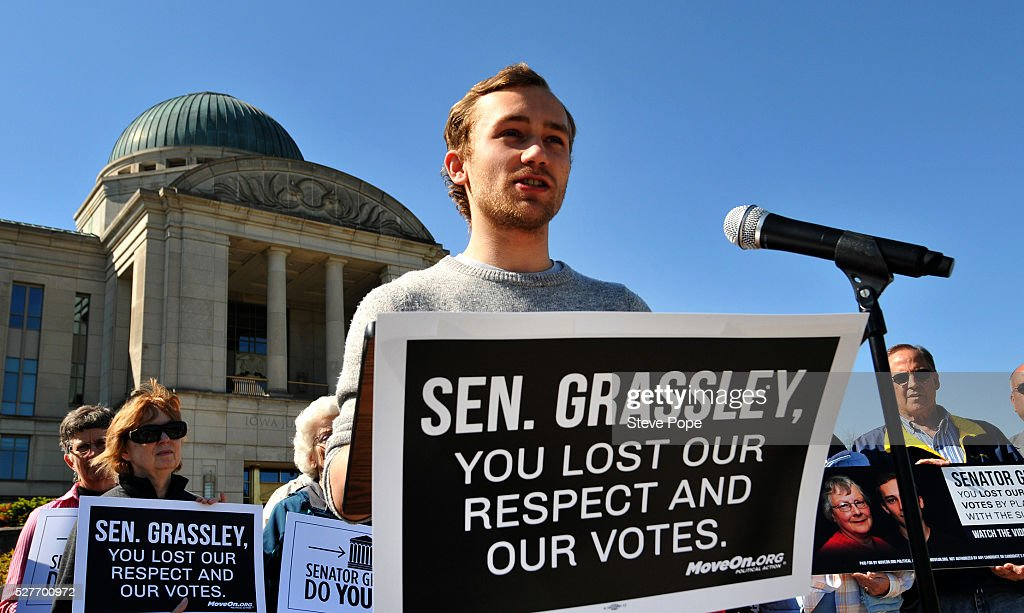 Jack Lehmkuhl, a bartender from Cedar Rapids, Iowa, speaks outside the Iowa Justice Building at a MoveOn.org event named 'Senator Grassley, Do Your Job Or Lose The Respect And Votes' on May 3, 2016 in Des Moines, Iowa.