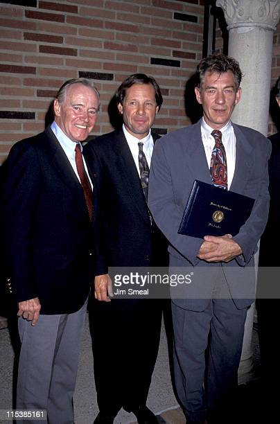 Jack Lemmon Michael Ovitz and Sir Ian McKellen during PreParty Reception For 'Richard III' at UCLA Royce Hall in Los Angeles CA United States