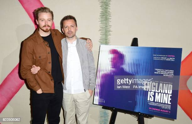 Jack Lowden and director Mark Gill arrive for a screening of England Is Mine at the Ham Yard Hotel in London