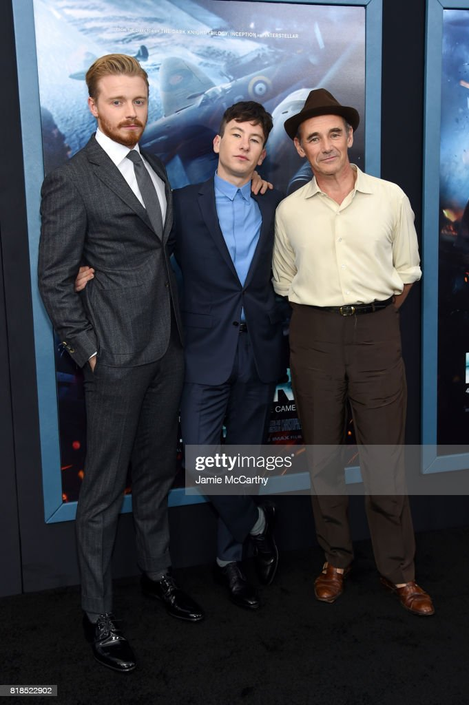 Jack Lowden, Barry Keoghan and Mark Rylance attend the 'DUNKIRK' New York Premiere on July 18, 2017 in New York City.