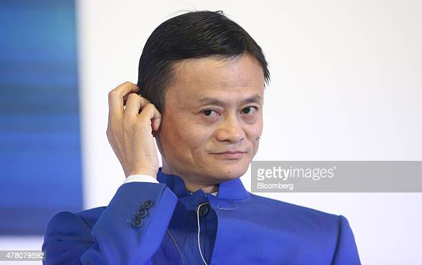 Jack Ma billionaire and chairman of Alibaba Group Holding Ltd pauses during a session at the St Petersburg International Economic Forum in Saint...