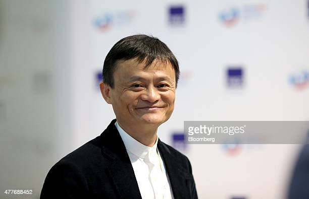 Jack Ma billionaire and chairman of Alibaba Group Holding Ltd reacts as he arrives for sessions at the St Petersburg International Economic Forum in...