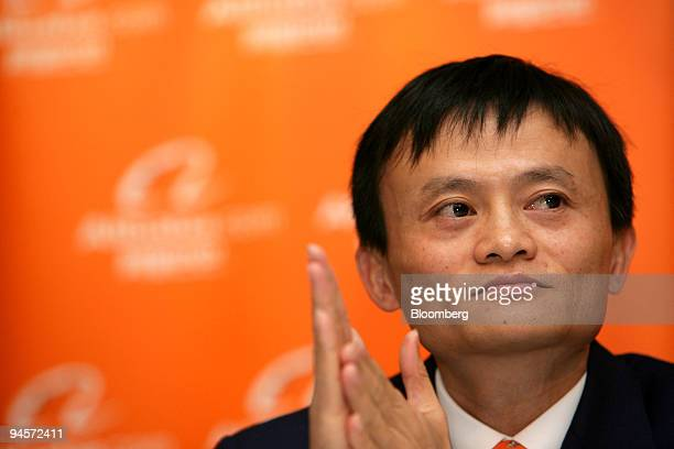 Jack Ma chairman and chief executive officer of Alibaba Group rubs his hands together at a news conference in Hong Kong China on Tuesday Nov 6 2007...